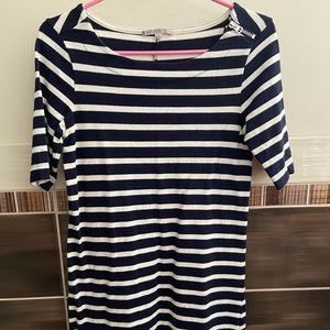 GAP Navy & White stripped Midi Dress with Sleeves